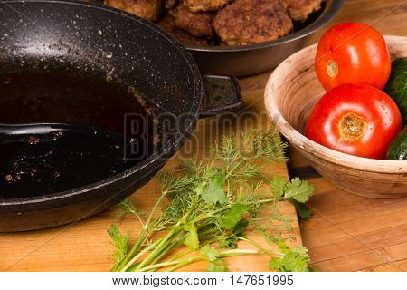 Frying Pan With Fat After Cooking