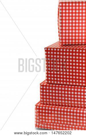 Red gift box set isolated on white background and have clipping paths.