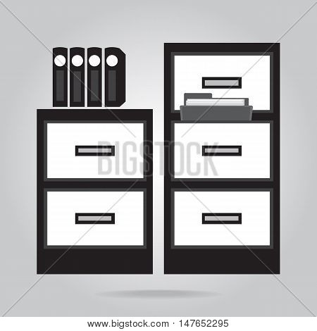 Cabinet and files icon, object flat icon vector illustration