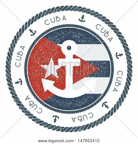 Nautical Travel Stamp With Cuba Flag And Anchor. Marine Rubber Stamp, With Round Rope Border And Anc
