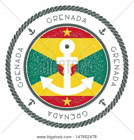Nautical Travel Stamp With Grenada Flag And Anchor. Marine Rubber Stamp, With Round Rope Border And