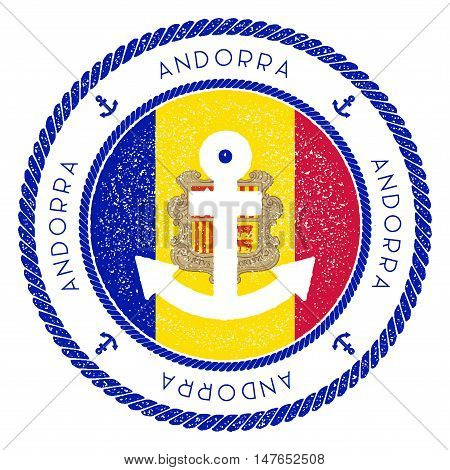 Nautical Travel Stamp With Andorra Flag And Anchor. Marine Rubber Stamp, With Round Rope Border And