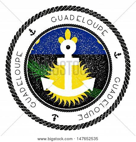Nautical Travel Stamp With Guadeloupe Flag And Anchor. Marine Rubber Stamp, With Round Rope Border A