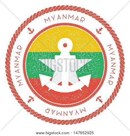 Nautical Travel Stamp With Myanmar Flag And Anchor. Marine Rubber Stamp, With Round Rope Border And
