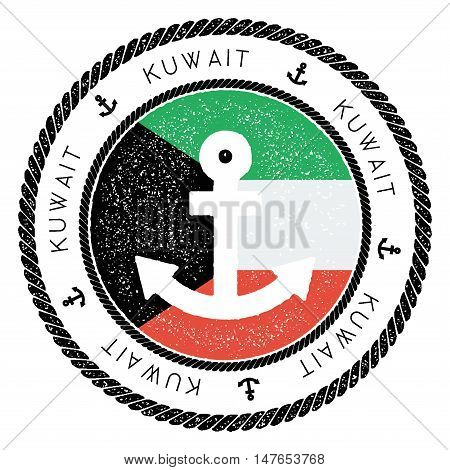 Nautical Travel Stamp With Kuwait Flag And Anchor. Marine Rubber Stamp, With Round Rope Border And A