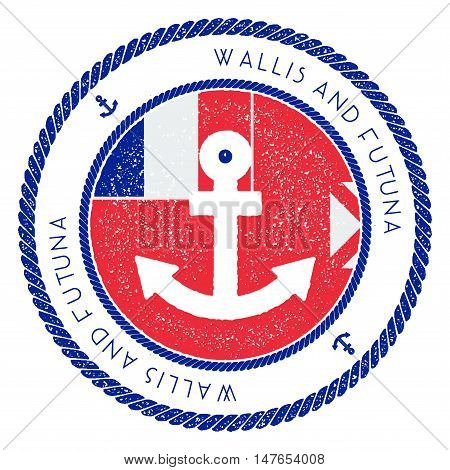 Nautical Travel Stamp With Wallis And Futuna Flag And Anchor. Marine Rubber Stamp, With Round Rope B