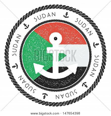 Nautical Travel Stamp With Sudan Flag And Anchor. Marine Rubber Stamp, With Round Rope Border And An