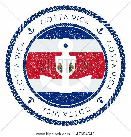 Nautical Travel Stamp With Costa Rica Flag And Anchor. Marine Rubber Stamp, With Round Rope Border A