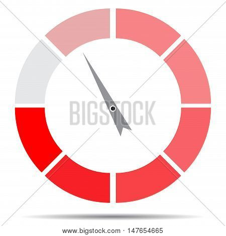 Indicator round red with pointer needle. Index and pointer arrow. indicator measurement spectrum and power panel. Vector illustration