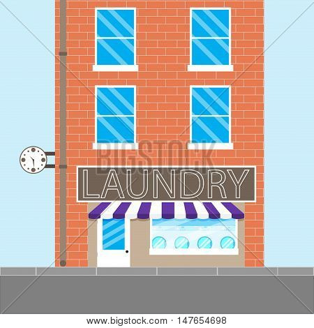 Laundry brick building. Washing machine and dry cleaning laundry service. Vector illustration