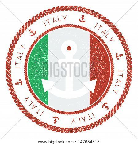 Nautical Travel Stamp With Italy Flag And Anchor. Marine Rubber Stamp, With Round Rope Border And An