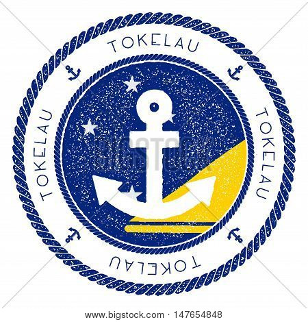 Nautical Travel Stamp With Tokelau Flag And Anchor. Marine Rubber Stamp, With Round Rope Border And