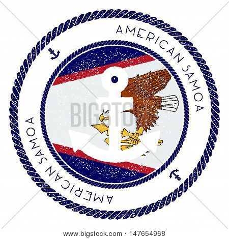 Nautical Travel Stamp With American Samoa Flag And Anchor. Marine Rubber Stamp, With Round Rope Bord