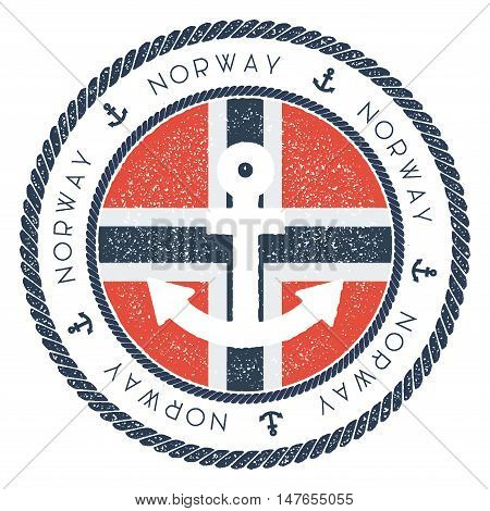 Nautical Travel Stamp With Norway Flag And Anchor. Marine Rubber Stamp, With Round Rope Border And A