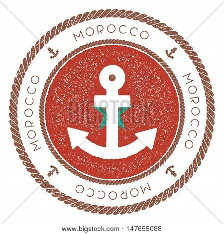 Nautical Travel Stamp With Morocco Flag And Anchor. Marine Rubber Stamp, With Round Rope Border And