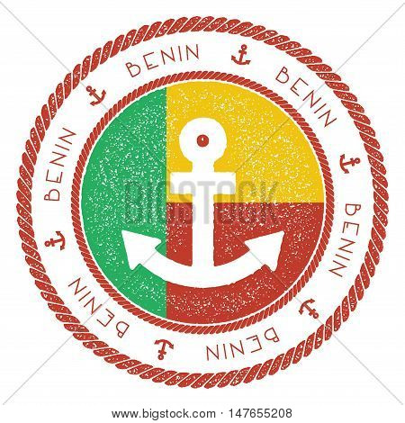Nautical Travel Stamp With Benin Flag And Anchor. Marine Rubber Stamp, With Round Rope Border And An