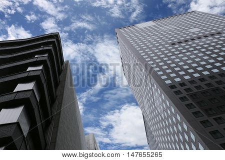 high business skyscraper or building on a blue sky background.