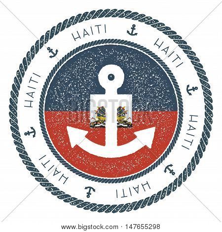Nautical Travel Stamp With Haiti Flag And Anchor. Marine Rubber Stamp, With Round Rope Border And An