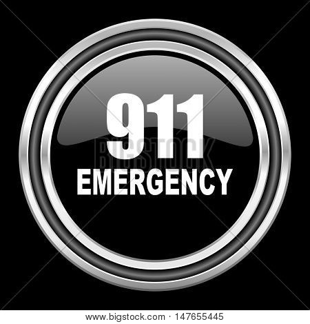 number emergency 911 silver chrome metallic round web icon on black background