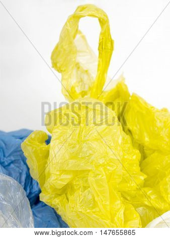 Closeup of a pastic carrier bags on white background