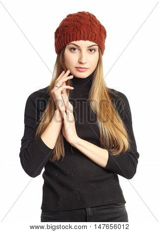 Woman On White Background Wearing Coral Winter Hat