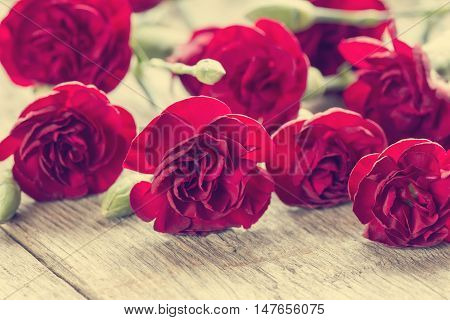 Close-up bunch of red carnations on the wooden background