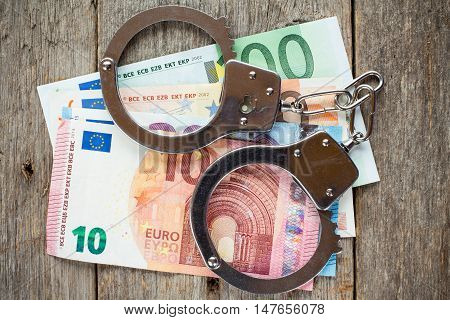 Concept For Arrest Corruption Crime Bribery or Fraud.