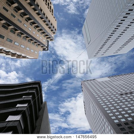 Modern business skyscrapers or high buildings in concepts of financial or economics for future.