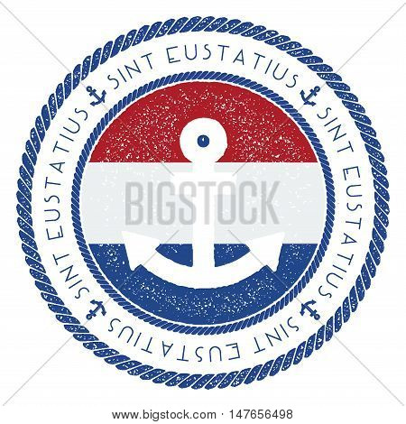 Nautical Travel Stamp With Bonaire, Sint Eustatius And Saba Flag And Anchor. Marine Rubber Stamp, Wi