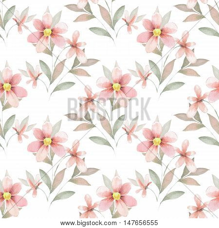 Delicate floral background. Watercolor seamless pattern 43