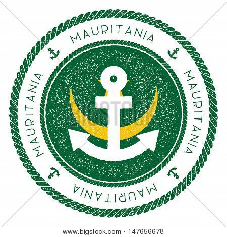 Nautical Travel Stamp With Mauritania Flag And Anchor. Marine Rubber Stamp, With Round Rope Border A