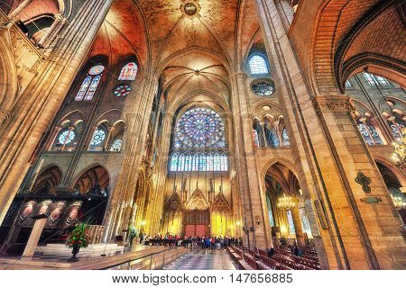 Paris, France - July 04, 2016 : Interior Of One Of The Oldest Cathedrals In Europe- Notre Dame De Pa