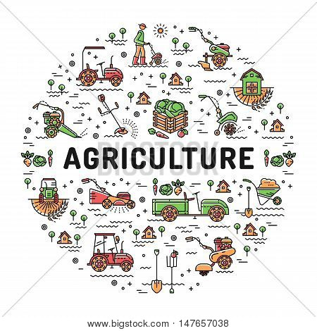 Agriculture and farming line art icons, Farm design template, Garden tiller and farm machines. Vector illustration agriculture and gardening circle colorful infographics concept