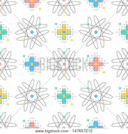 Vector creative seamless pattern, trendy geometric background. Minimal design elements, Retro Memphis style 80s 90s, Hipster textiles. Abstract poster, cover, card, textile fabric, paper