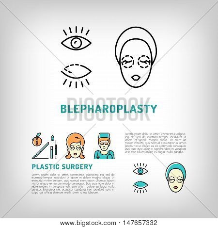 Blepharoplasty logos, eyelid surgery old tired eyes. Face Plastic surgery concept thin line icons. Medical symbols and cosmetic surgery before and after. Vector illustration