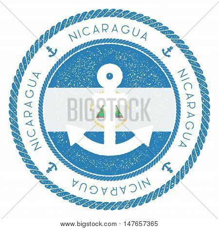 Nautical Travel Stamp With Nicaragua Flag And Anchor. Marine Rubber Stamp, With Round Rope Border An