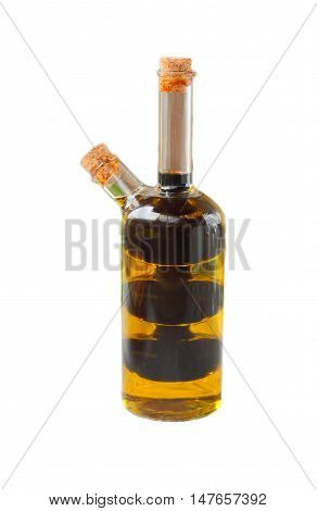 Bottle with olive and balsamic vinegar iaslom isolated