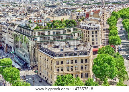 Paris, France - July 06, 2016: Beautiful Panoramic View Of Paris From The Roof Of The Triumphal Arch