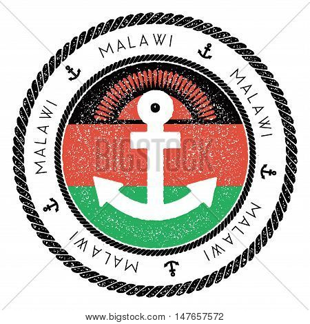 Nautical Travel Stamp With Malawi Flag And Anchor. Marine Rubber Stamp, With Round Rope Border And A