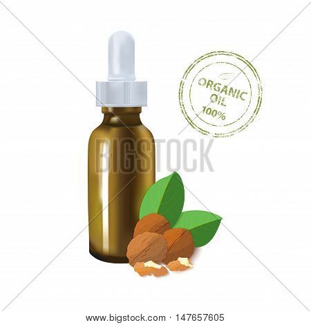 Essential oil package mockup. cosmetic walnut oil with a pipette bottle. The idea of advertising design cosmetics and medicines, brochures about health and skin care products