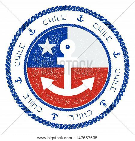 Nautical Travel Stamp With Chile Flag And Anchor. Marine Rubber Stamp, With Round Rope Border And An