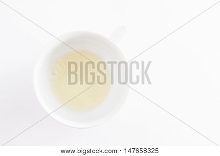 Of Raw Protein Of Chicken Eggs In White Bowl Isolated