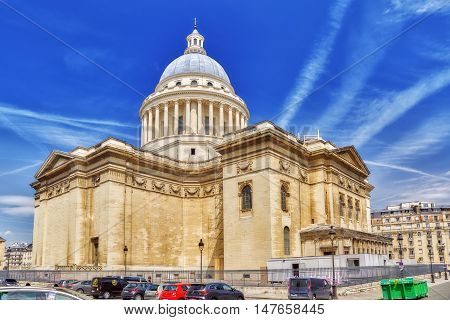 Paris, France - July 08, 2016 : French Mausoleum Of Great People Of France - The Pantheon In Paris.
