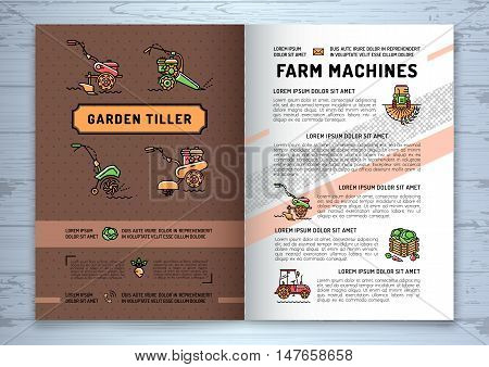 Garden tiller and farm machines agricultural business brochure design template, flyer or card. Vector agriculture and gardening circle colorful infographics concept, Farming line art icons
