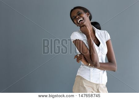 Very attractive African black model laugh heartily