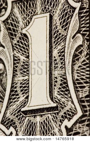 Dollar bill extreme close up