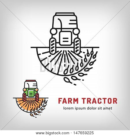 Farm tractor icon in a thin line art style, Isolated vector logo of the tractor on a wheat field. Farmers market logo