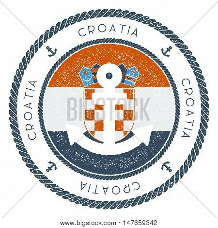 Nautical Travel Stamp With Croatia Flag And Anchor. Marine Rubber Stamp, With Round Rope Border And