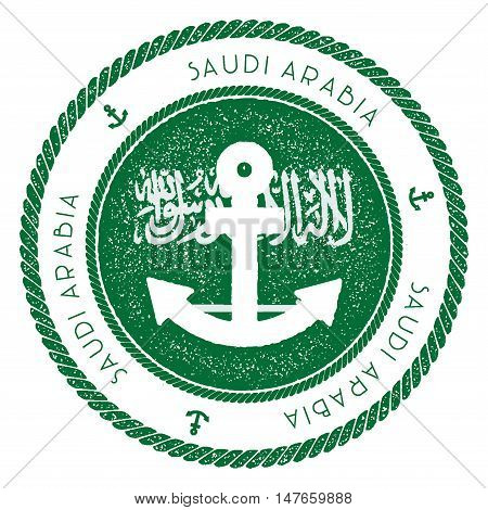 Nautical Travel Stamp With Saudi Arabia Flag And Anchor. Marine Rubber Stamp, With Round Rope Border