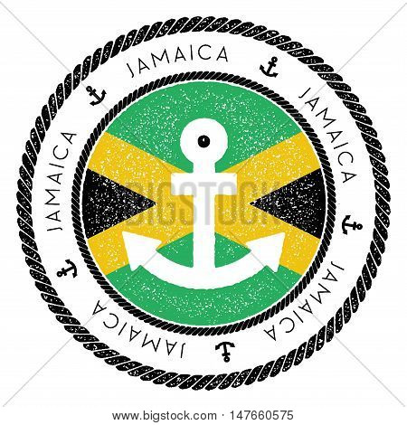 Nautical Travel Stamp With Jamaica Flag And Anchor. Marine Rubber Stamp, With Round Rope Border And